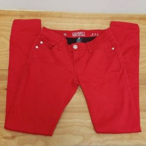 """❤CELEBRITY PINK """"DARE YOU SKINNY"""" RED JEANS, sz 1"""